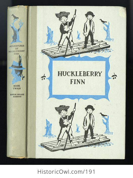 Vintage Illustrated Book Adventures of Huckleberry Finn by Mark Twain Junior Deluxe Editions C1954 - #qYY3rN7skvM-1
