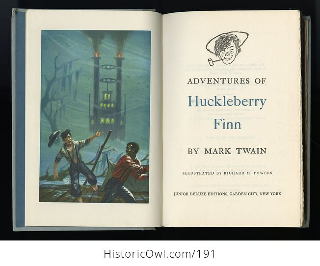 Vintage Illustrated Book Adventures of Huckleberry Finn by Mark Twain Junior Deluxe Editions C1954 - #qYY3rN7skvM-6