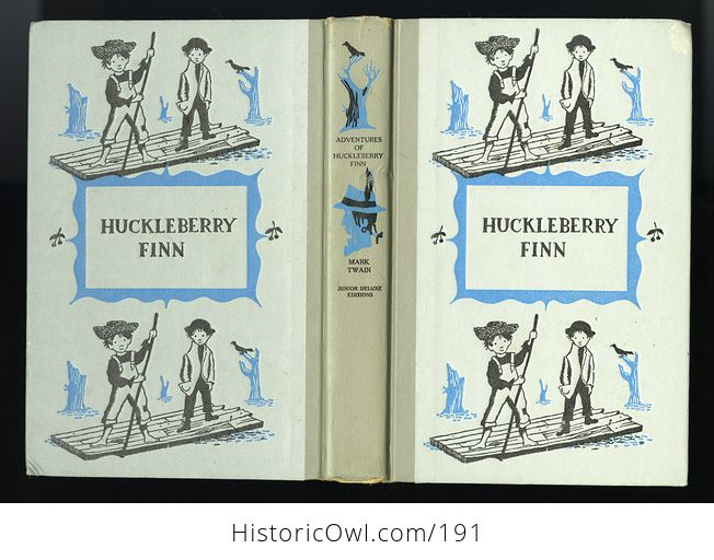 Vintage Illustrated Book Adventures of Huckleberry Finn by Mark Twain Junior Deluxe Editions C1954 - #qYY3rN7skvM-2