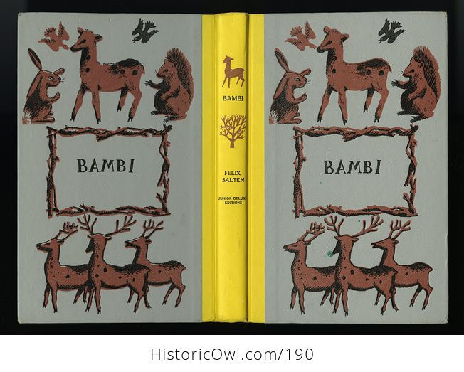 Vintage Illustrated Book Bambi by Felix Salten Junior Deluxe Editions C1956 - #MvyS5SvtS9Q-6