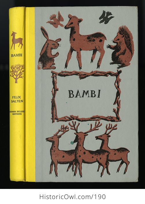 Vintage Illustrated Book Bambi by Felix Salten Junior Deluxe Editions C1956 - #MvyS5SvtS9Q-1
