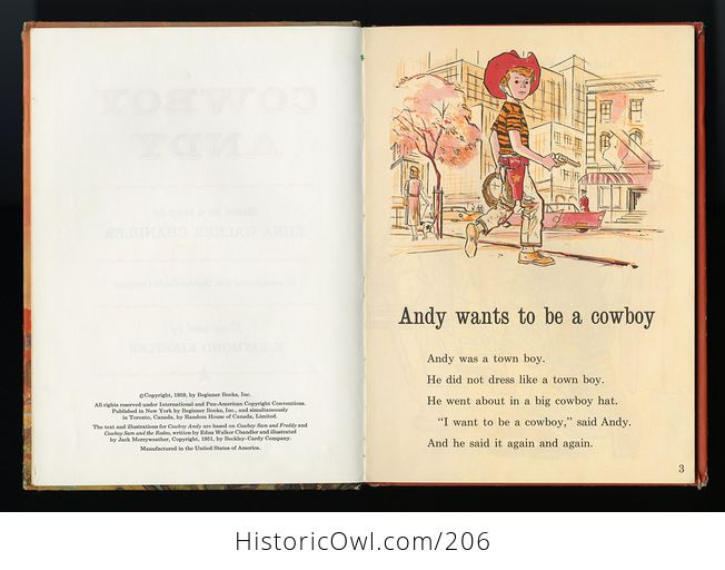 Vintage Illustrated Book Cowboy Andy Based on a Story by Edna Walker Chandler and Illustrated by E Raymond Kinstler C1959 - #iEoC3xMAQBM-5