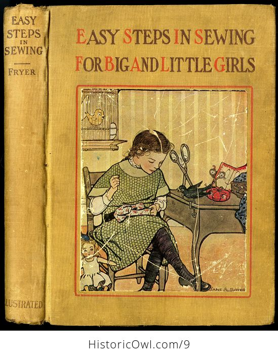 Vintage Illustrated Book Easy Steps in Sewing for Big and Little Girls or Mary Frances Among the Thimble People by Jane Eayre Fryer 1913 - #pZT0FLBiAfk-1