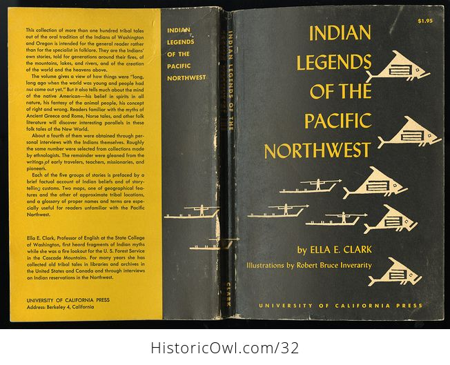 Vintage Illustrated Book Indian Legends of the Pacific Northwest by Ella E Clark C 1960 - #hYKWpO5yBb4-1