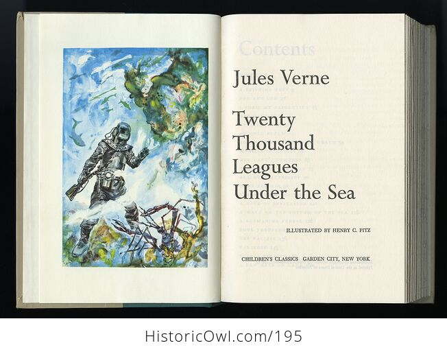 Vintage Illustrated Book Twenty Thousand Leagues Under the Sea by Jules Verne Childrens Classics C1956 - #GlIR7CQoKDQ-4