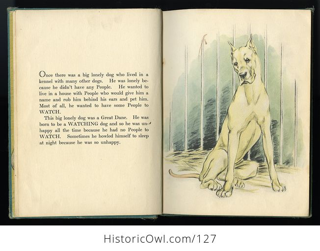 Vintage Illustrated Childrens Book Big Lonely Dog by Leonore Harris C1943 - #CetcS2t5JfI-2