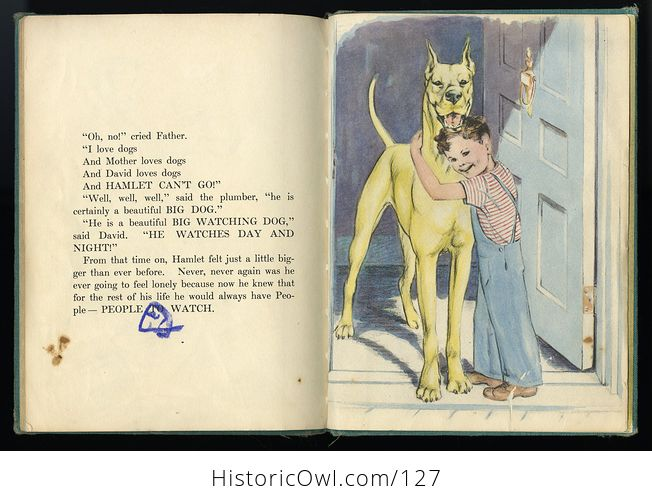 Vintage Illustrated Childrens Book Big Lonely Dog by Leonore Harris C1943 - #CetcS2t5JfI-3
