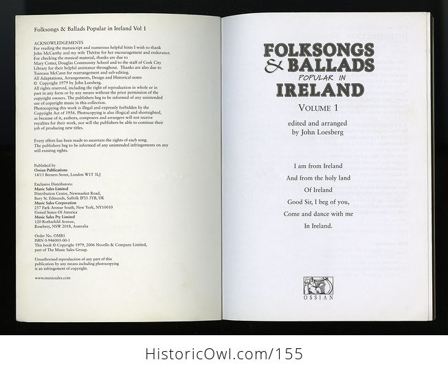 Vintage Illustrated Music Book Folksongs and Ballads Popular in Ireland by John Loesberg C1979 - #snS2VKGfbTc-3