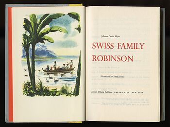 Vintage Swiss Family Robinson Illustrated Book by Johann David Wyss Junior Deluxe Editions C1954 #EM7rS3DFmpU