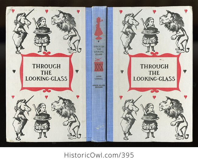Vintage Through the Looking Glass and What Alice Found There Illustrated Book by Lewis Carroll Junior Deluxe Editions 1950s - #4SrYwNGM1Fs-2