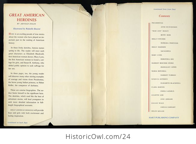 Vintage Women in Us History Book Great American Heroines by Arnold Dolin C1960 - #ZOlHQkssWUI-6